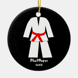 Taekwondo Karate Red Belt Personalized Christmas Ornament
