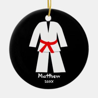 Taekwondo Karate Red Belt Personalized Round Ceramic Decoration