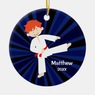 Taekwondo Karate Red Belt Red Boy Personalized Round Ceramic Decoration