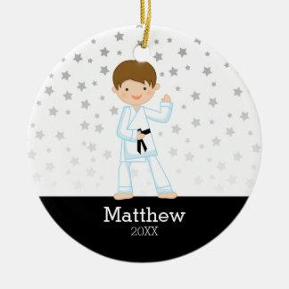 Taekwondo Karate Star Black Belt Boy Personalized Christmas Ornament