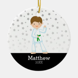 Taekwondo Karate Star Green Belt Boy Personalized Christmas Ornament