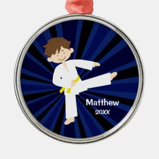 Taekwondo Karate Yellow Belt Boy Personalized Christmas Ornament