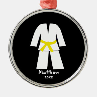 Taekwondo Karate Yellow Belt Personalized Christmas Ornament