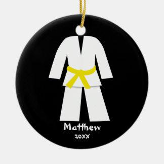 Taekwondo Karate Yellow Belt Personalized Round Ceramic Decoration