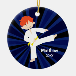 Taekwondo Karate Yellow Belt Red Boy Personalized Round Ceramic Decoration