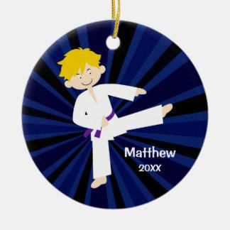 Taekwondo Purple Belt Blonde Boy Personalized Christmas Ornament