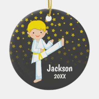 Taekwondo Yellow Belt Blonde Boy Personalized Christmas Ornament