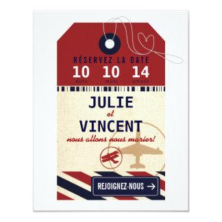 Tag Bagages de Voyage Réserver la Date 11 Cm X 14 Cm Invitation Card