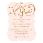 Tag Style Script Forever in Love Gold Glitter 13 Cm X 18 Cm Invitation Card