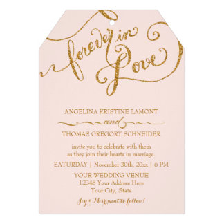 Tag Style Script Forever in Love Gold Glitter Personalized Announcements