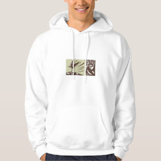 Tagaloa Looking at Plover Bird Woodcut Hoodie