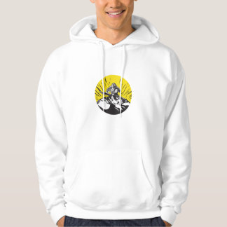 Tagaloa Releasing Bird Plover Earth Woodcut Circle Hoodie