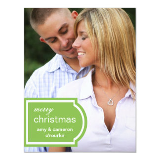 Tagged Photo Christmas Card-lime 11 Cm X 14 Cm Invitation Card