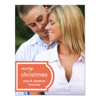 Tagged Photo Christmas Card-orange 11 Cm X 14 Cm Invitation Card
