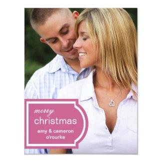 Tagged Photo Christmas Card-raspberry 11 Cm X 14 Cm Invitation Card