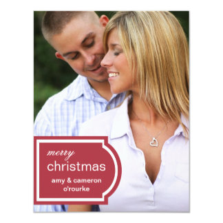 Tagged Photo Christmas Card-red 11 Cm X 14 Cm Invitation Card
