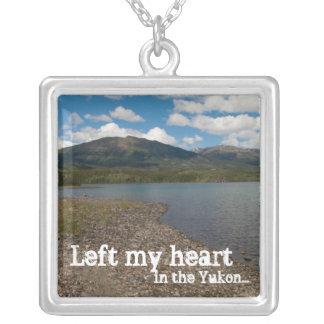 Tagish Shoreline; Yukon Territory Souvenir Square Pendant Necklace