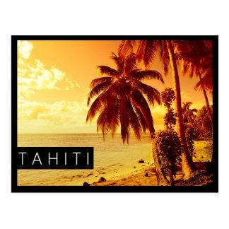 Tahiti sunset black edge postcard