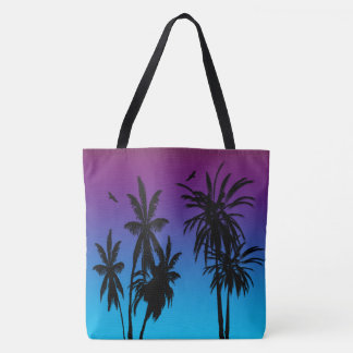 Tahiti Sunset Haze Black Palm Trees Circling Hawk Tote Bag