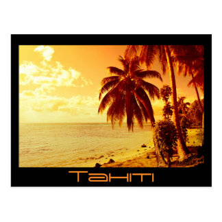 Tahiti sunset postcard black text postcard