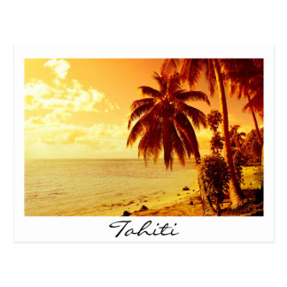 Tahiti sunset white text postcard