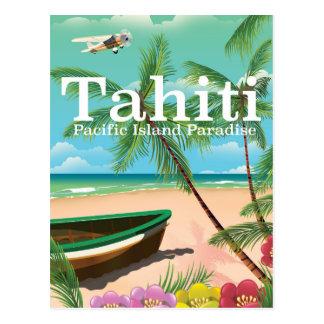 Tahiti vintage travel poster postcard