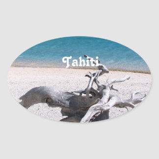 Tahitian Beach Oval Stickers