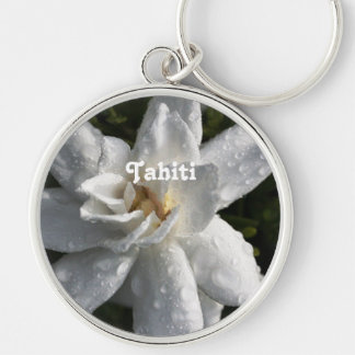 Tahitian Gardenia Silver-Colored Round Key Ring
