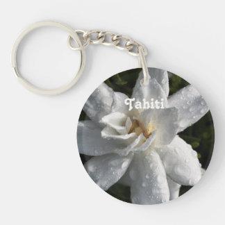 Tahitian Gardenia Single-Sided Round Acrylic Key Ring