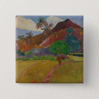 Tahitian Landscape, 1891 (oil on canvas) 15 Cm Square Badge
