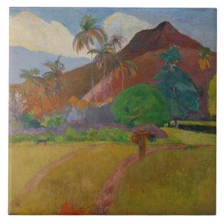Tahitian Landscape, 1891 (oil on canvas) Large Square Tile