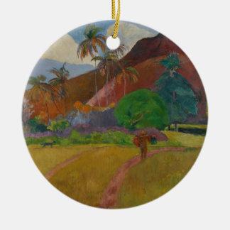Tahitian Landscape, 1891 (oil on canvas) Round Ceramic Decoration