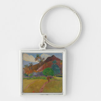 Tahitian Landscape, 1891 (oil on canvas) Silver-Colored Square Key Ring