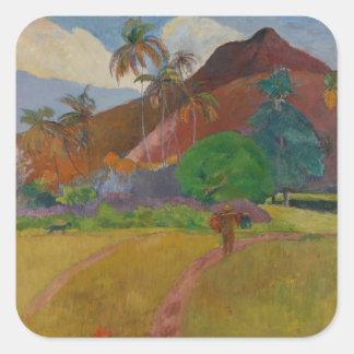 Tahitian Landscape, 1891 (oil on canvas) Square Sticker