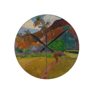 Tahitian Landscape, 1891 (oil on canvas) Wall Clocks