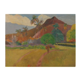 Tahitian Landscape, 1891 (oil on canvas) Wood Wall Art