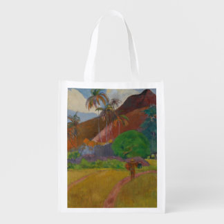 Tahitian Landscape, 1891 (oil on canvas) Grocery Bags