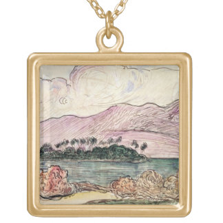 Tahitian Landscape (w/c on paper) Gold Plated Necklace