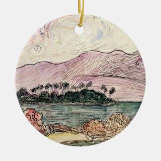 Tahitian Landscape (w/c on paper) Round Ceramic Decoration