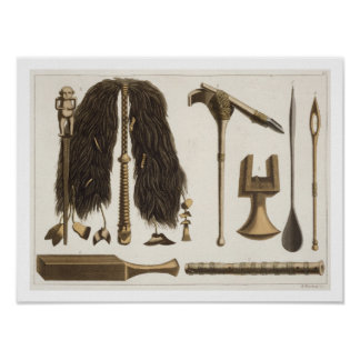 Tahitian tools and Ceremonial instruments, illustr Poster