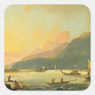 Tahitian War Galleys in Matavai Bay, Tahiti, 1766 Square Sticker