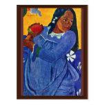 Tahitierin With Mango By Gauguin Paul Postcards