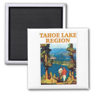 Tahoe Lake Region Travel Poster Square Magnet