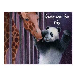 Tai Shan getting a kiss from Miss Sniffy Postcards