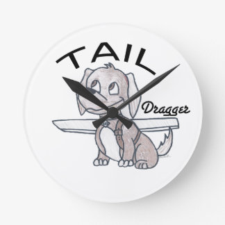 Tail Dragger Round Clock