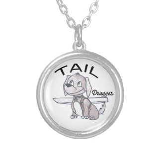 Tail Dragger Round Pendant Necklace