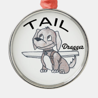 Tail Dragger Silver-Colored Round Decoration