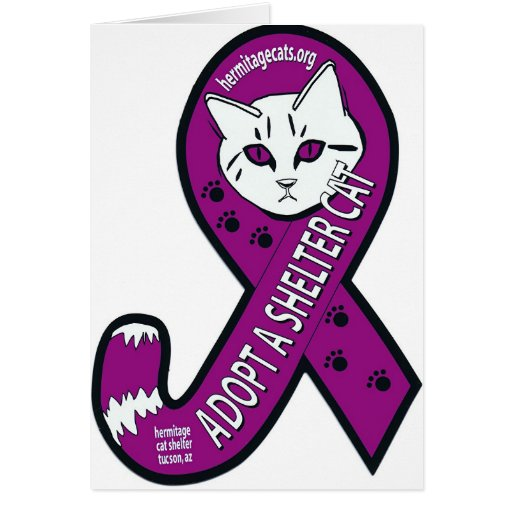 Tailed awareness ribbon: Adopt a shelter cat Greeting Card