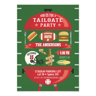 Tailgate Party BBQ Football Invitation