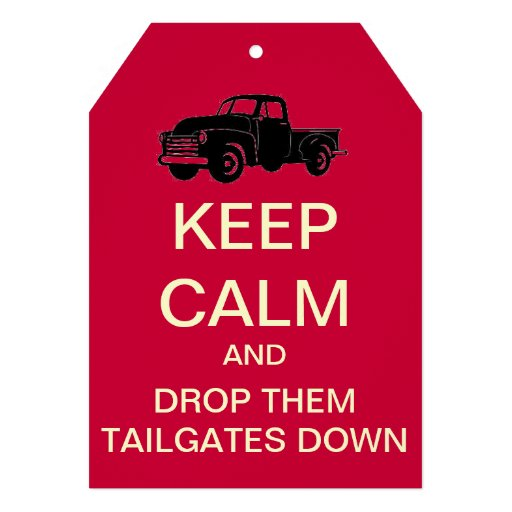 Tailgate Party Keep Calm Custom Invitation (Red)